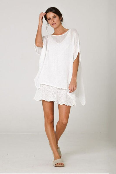 white linen oversized top
