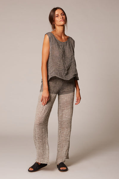 charcoal linen shell top estilo emporio