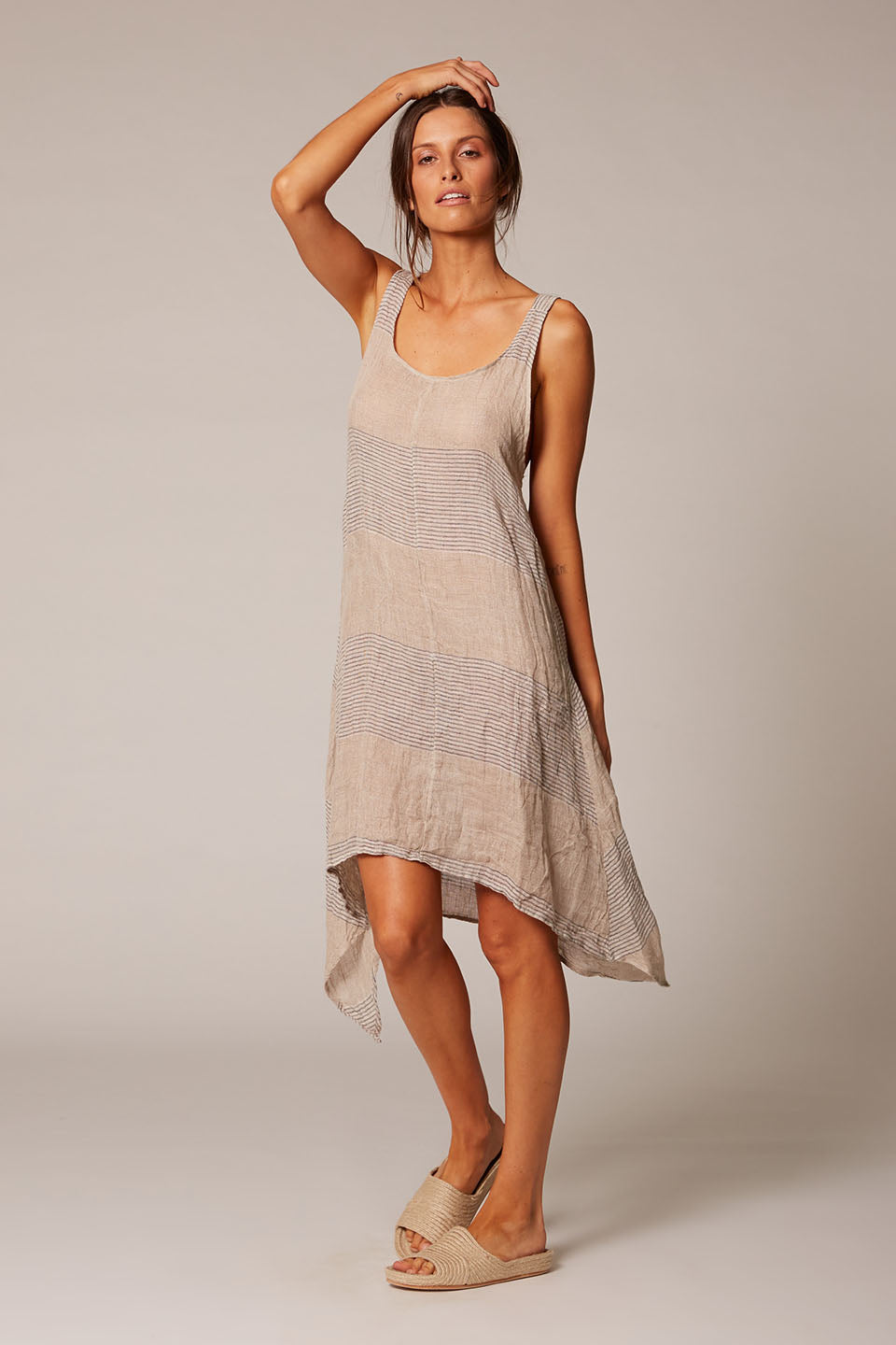 large stripe natural linen midi dress