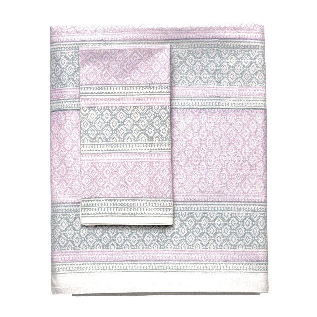 l&m home amara cotton tablecloth india pink grey