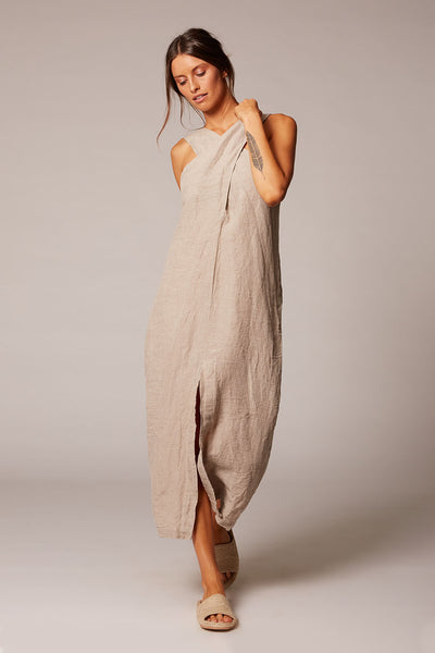 natural linen halter crossover maxi dress