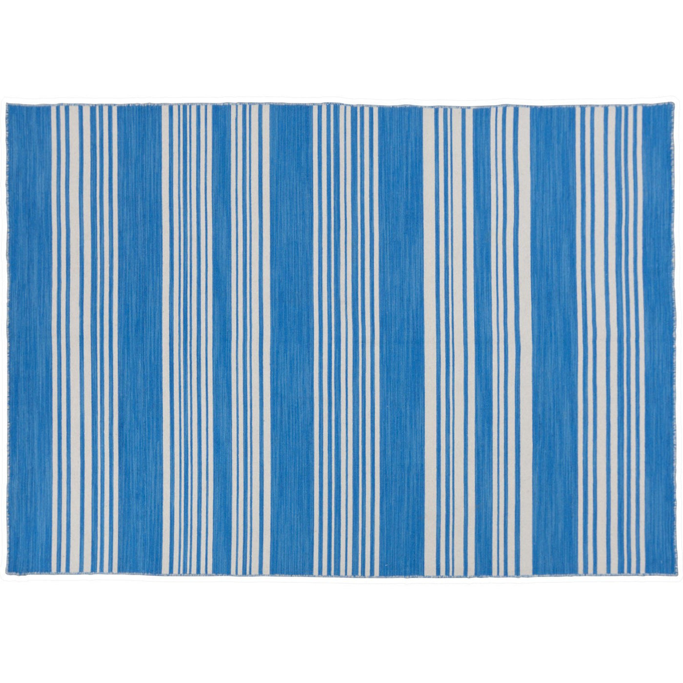 tribe home blue and white striped dhurrie rug