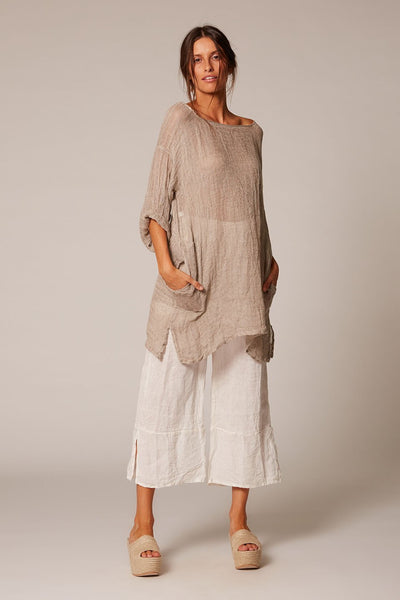 long linen top estilo emporio