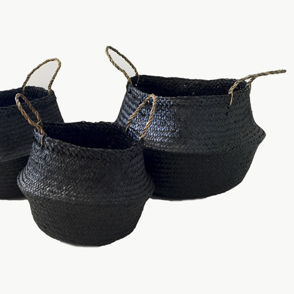 Medium Seagrass Belly Basket in Black