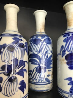 japanese blue white painted sake jug
