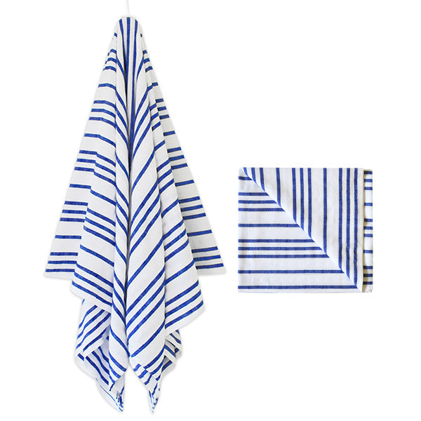 Sayulita Striped Beach Blanket in Blue & White