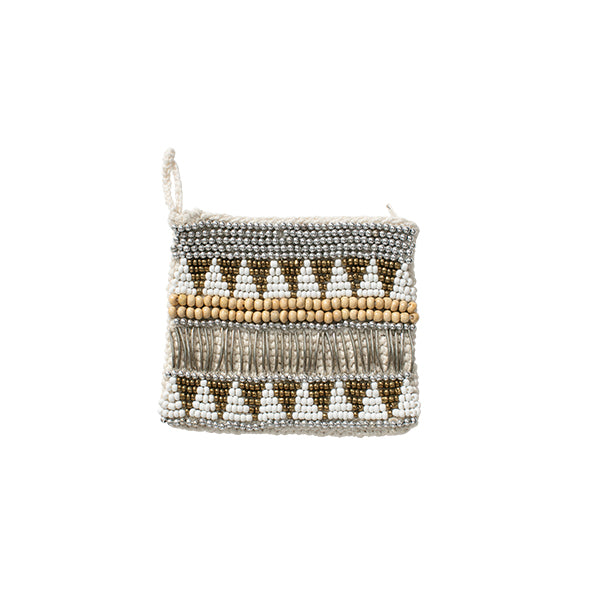 Macrame Beaded Gold Silver Purse