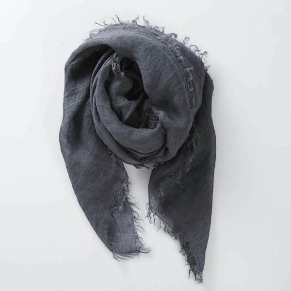 Handwoven Linen Scarf in Steel Blue
