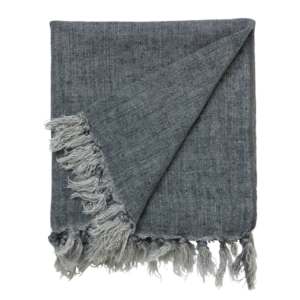 l&m home Burton Linen Throw Rug in Storm