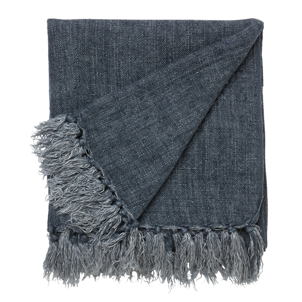 l&m home Burton Linen Throw Rug in Indigo