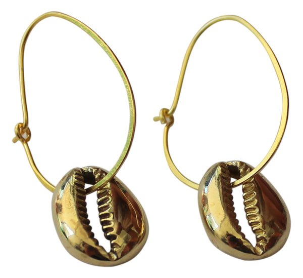 Lisa Carney | Gold Hoop Cowrie Earrings