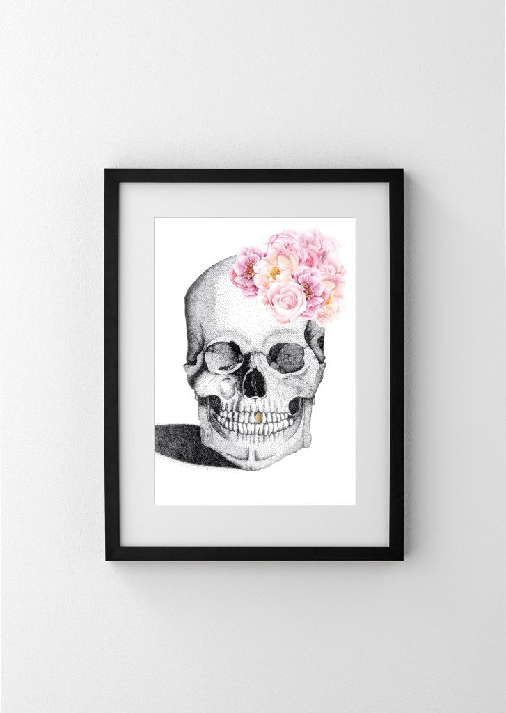 LUXE SKULL WITH FLOWER CROWN AND GOLD FOIL LEAF TOOTH - LIMITED EDITION