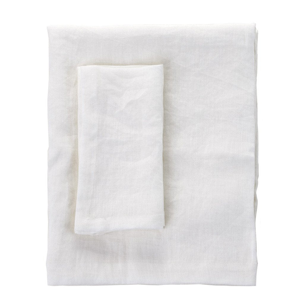 White Linen Grand Tablecloth - 180x300cm