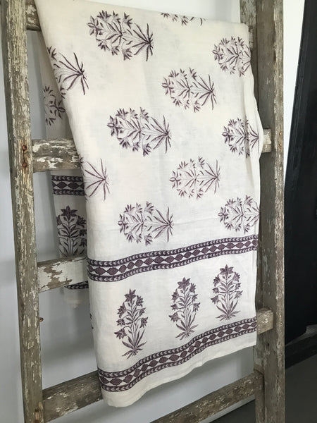 ruby star traders cotton cream block printed tablecloth 150x220cm