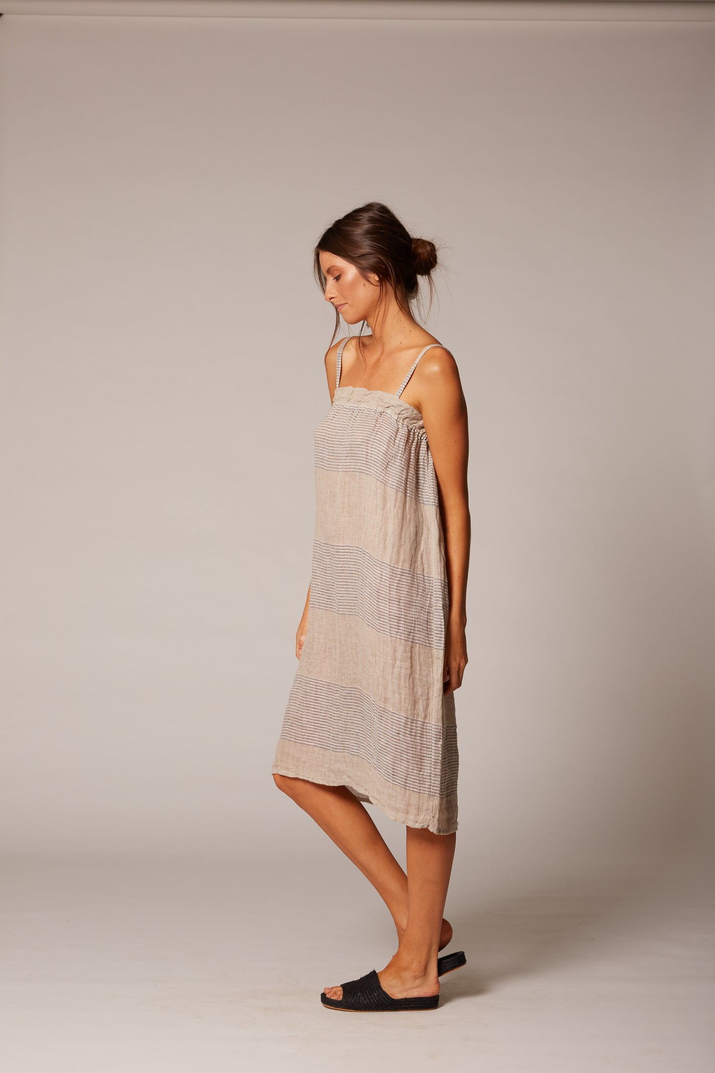 natural linen midi slip dress