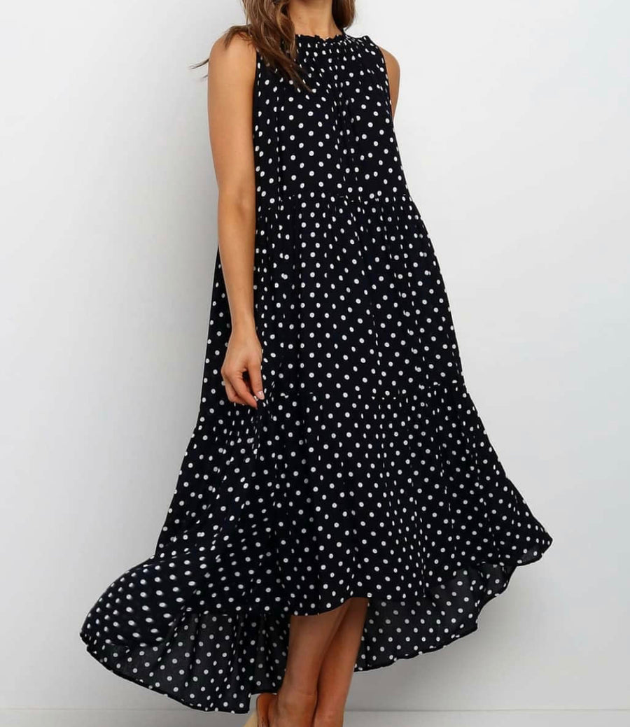 Halle Dress - Navy white spot