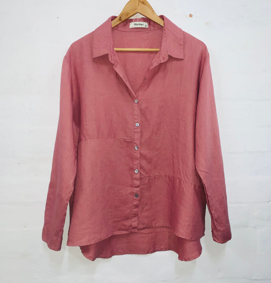 Aria Linen Shirt - Dusty Pink