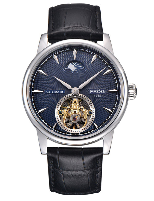 HELIOS Navy 42 mm Leather Watch