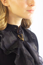 Black ruffled  viscose  blouse