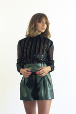 Military green transparent blouse