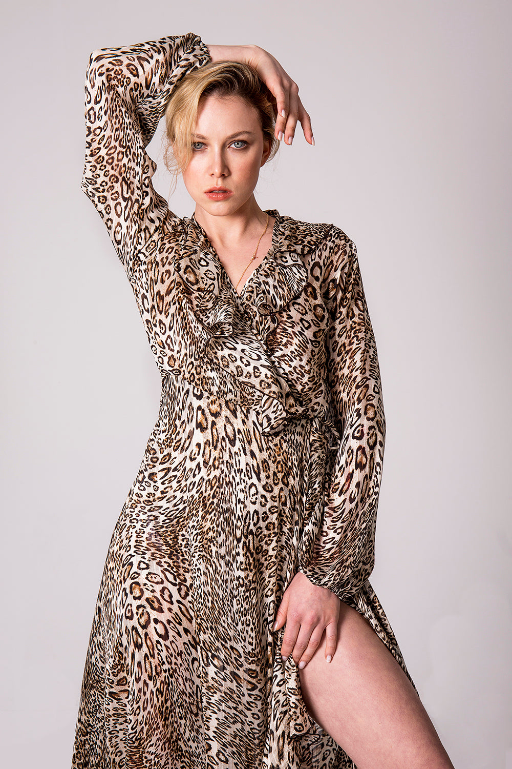 Jaguar print wrap dress