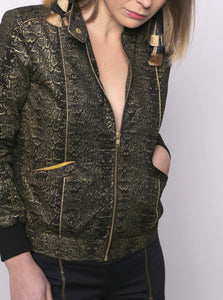 Hydrophis snake print bomber jacket