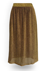 Neffy golden pleated midi skirt