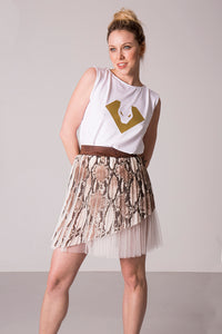 Pleated asymmetric skirt