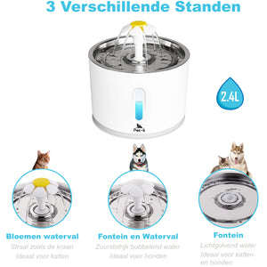 Pet-it Drinkfontein incl. 3 filters - Katten en Honden - 2,4 Liter - Wit