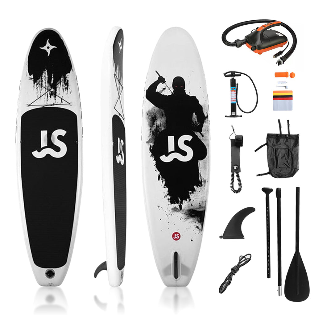 Opblaasbaar Sup Board Incl. Elektrische pomp | Stand up Paddle Board | Complete Set | 335x82x15cm | Wit/Zwart