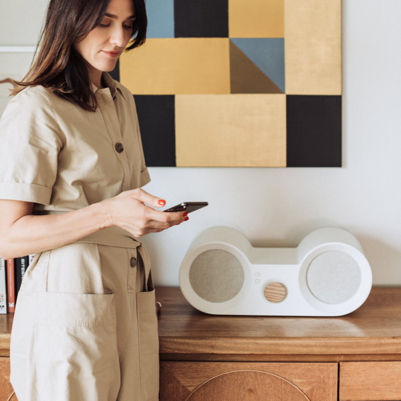 Babbit wooden wifi speaker with integrated Spotify Connect functionality. Family friendly.
