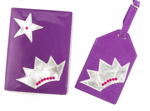 Kids Passport cover with Luggage Tag (Purple Crown)