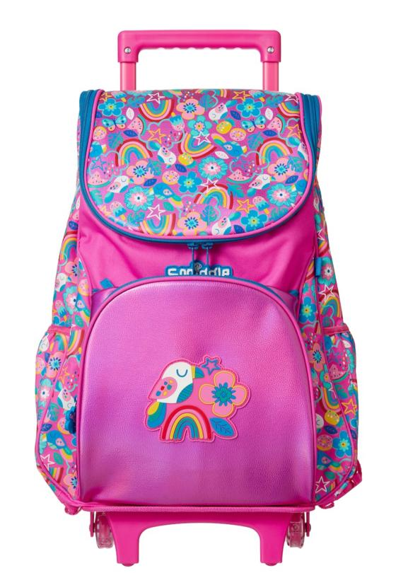 Smiggle Flow Trolley Backpack With Light Up Wheels Pink