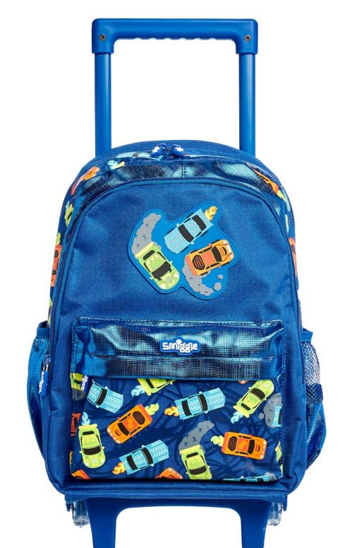 Smiggle Whirl Junior Backpack Trolley With Light Up Wheels Cars