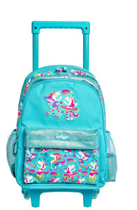 Smiggle Whirl Junior Backpack Trolley With Light Up Wheels Unicorn Blue