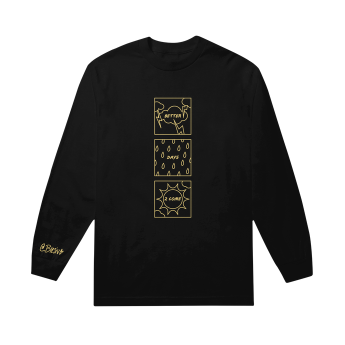 Better Days Square Black Long Sleeve Tee