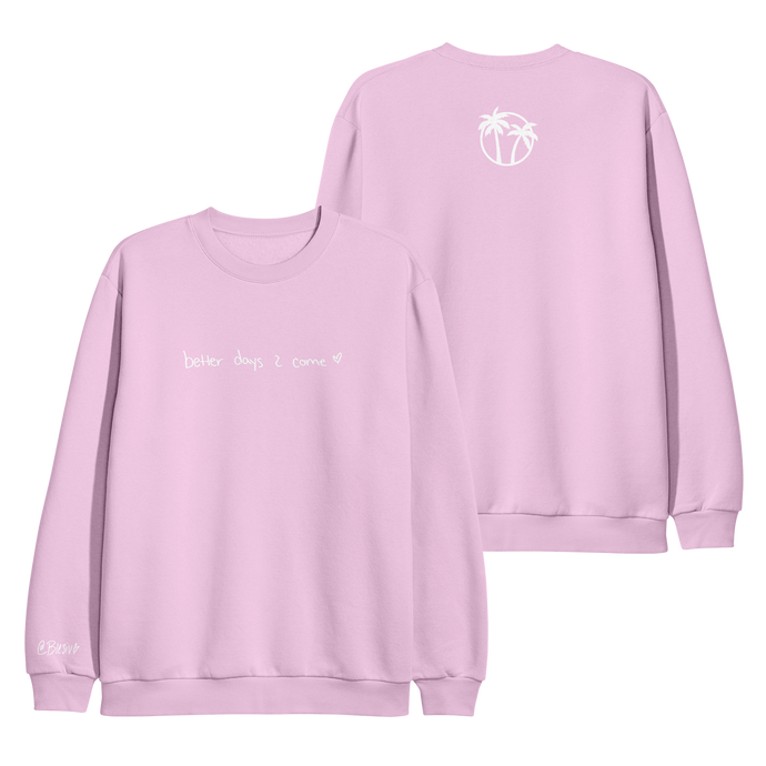 Better Days Embroidered Pink Crewneck