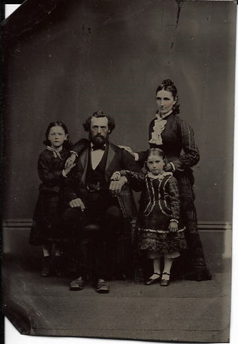 Tintype Photograph of a Family with Two Girls