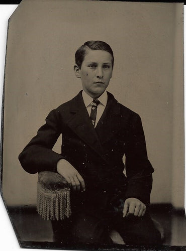 Tintype Photograph of a Young Schoolboy