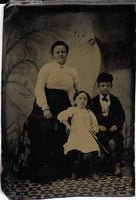 Tintype Photograph of a Woman with Two Children