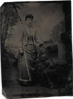 Tintype Photograph of a Woamn in a Patterned Dress