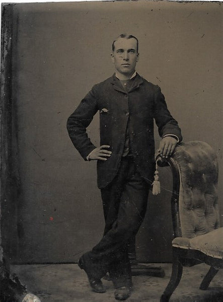 Tintype Photograph of a Man Standing with Crossed Legs
