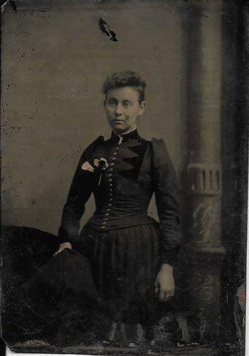 Tintype Photograph of a Woman in a Dress with a Boutineer