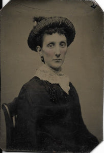 Tintype Photograph of a Skinny Woman with High Cheek Bones