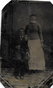Tintype Photograph of a Man Seated Beside a Woman