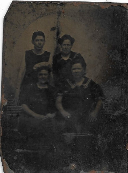 Tintype Photograph of a Group of Four Women, Two Seated, Two Standing