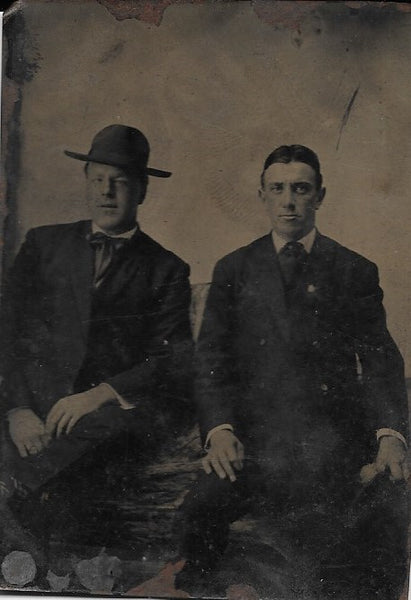 Tintype Photograph of Two Seated Men, One of Which is Giving Some Serious Side-Eye