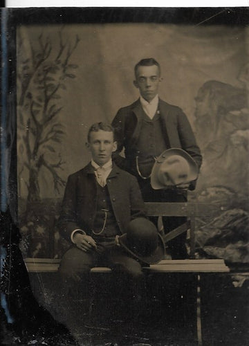 Tintype Photograph of Two Men Holding Hats