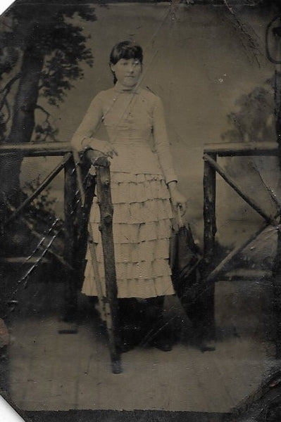 Tintype Photograph of a Woman with an Umbrella