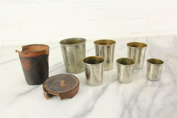 Graduated 6 Piece Metal Nesting Cup Set in Leather Case